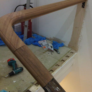 Wreathed handrail in progress